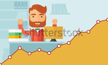 幸せ 中国語 ビジネスマン 両方 手 座って ストックフォト © RAStudio