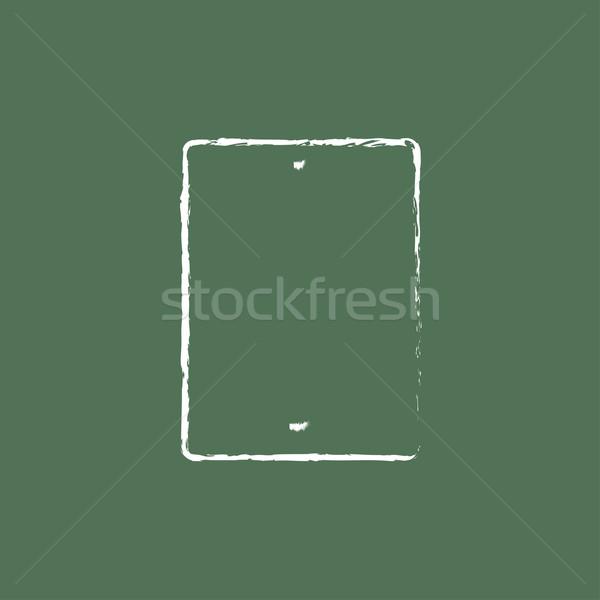 Dokunmatik ekran tablet ikon tebeşir Stok fotoğraf © RAStudio