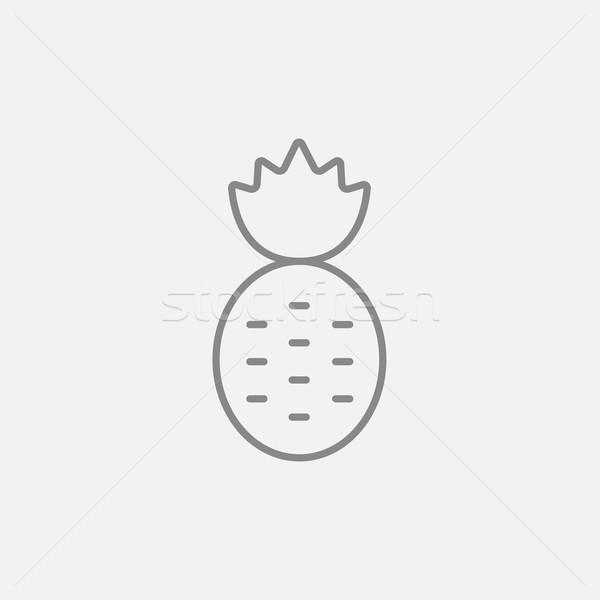 Stockfoto: Ananas · lijn · icon · web · mobiele · infographics