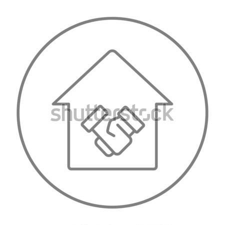 Handshake udany nieruchomości transakcja line ikona Zdjęcia stock © RAStudio