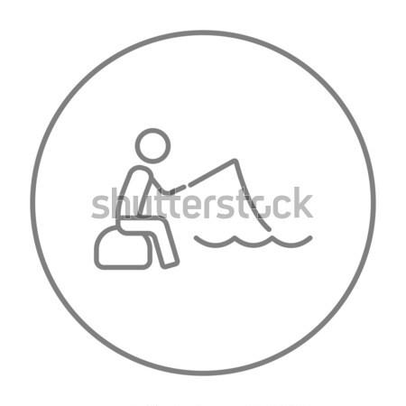 Сток-фото: рыбак · сидят · стержень · линия · икона · веб