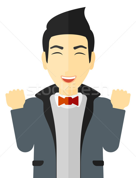 человека эйфория поднятыми руками вектора Сток-фото © RAStudio
