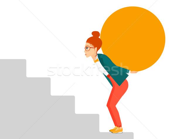 Nő hordoz kő fáradt üzletasszony mászik Stock fotó © RAStudio