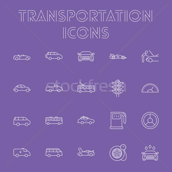 Közlekedés ikon gyűjtemény vektor fény lila ikon Stock fotó © RAStudio