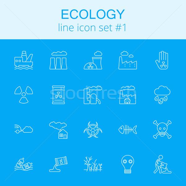 Stok fotoğraf: Ekoloji · vektör · açık · mavi · ikon · yalıtılmış