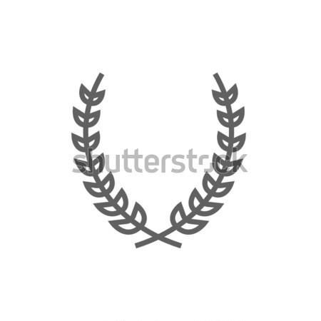Stock fotó: Babér · koszorú · vonal · ikon · háló · mobil
