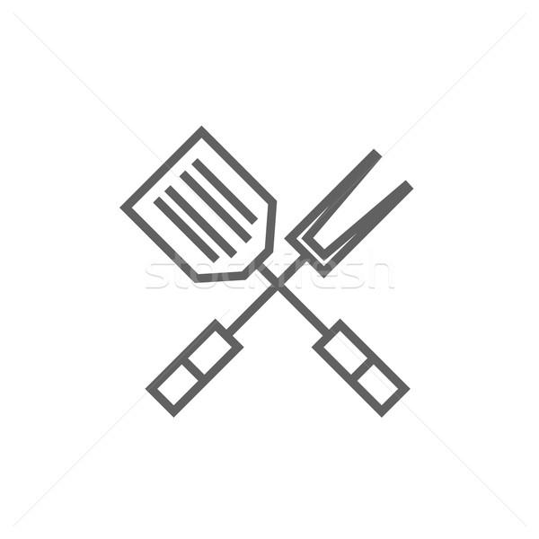 Keuken spatel groot vork lijn icon Stockfoto © RAStudio