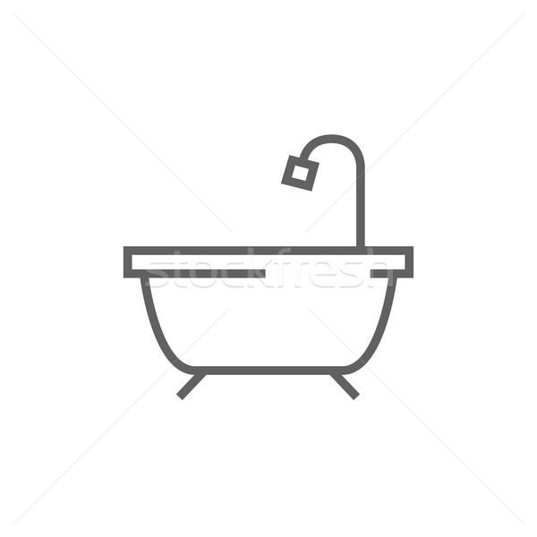 Bathtub with shower line icon. Stock photo © RAStudio