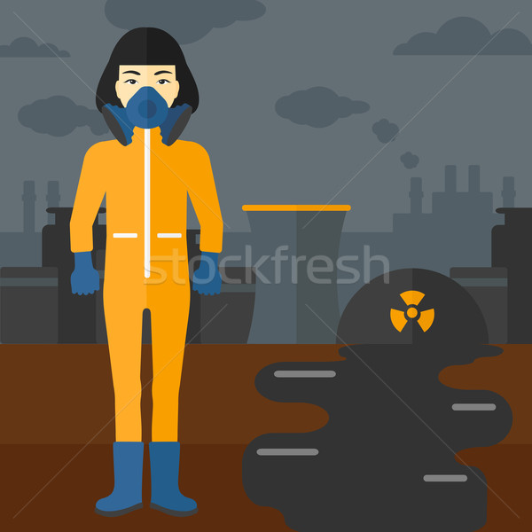 Woman in protective chemical suit. Stock photo © RAStudio