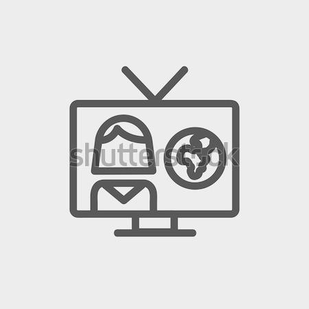 Stockfoto: Tv · verslag · lijn · icon · hoeken · web