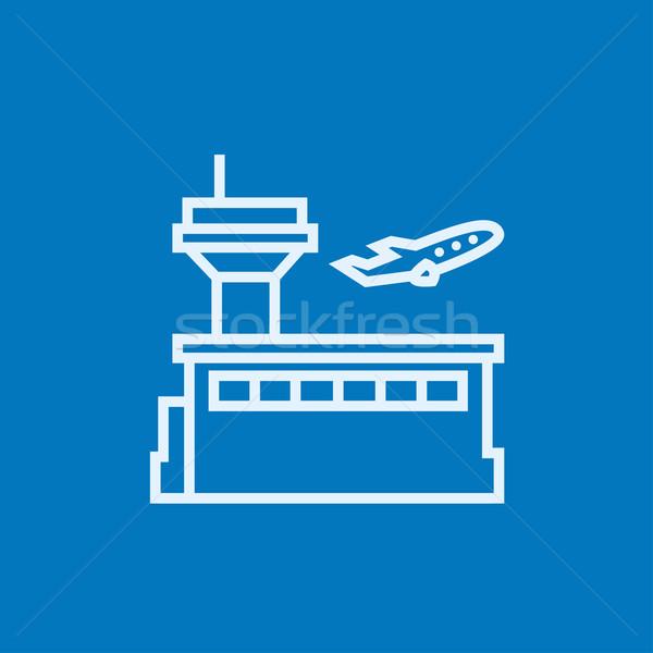Plane taking off line icon. Stock photo © RAStudio