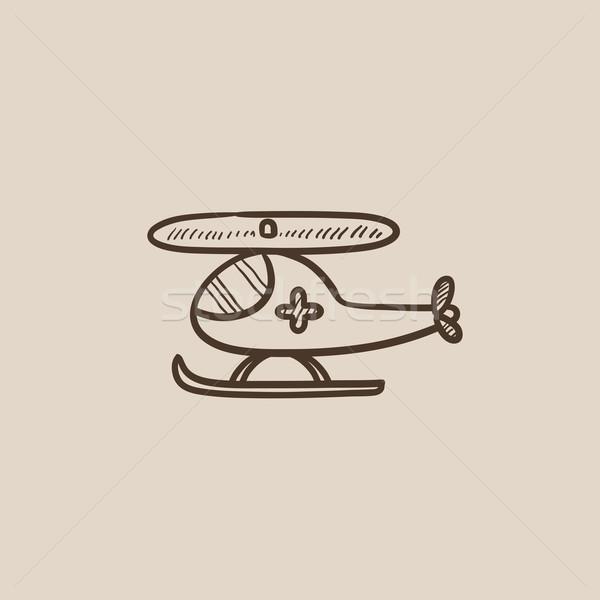 Ar ambulância esboço ícone teia móvel Foto stock © RAStudio