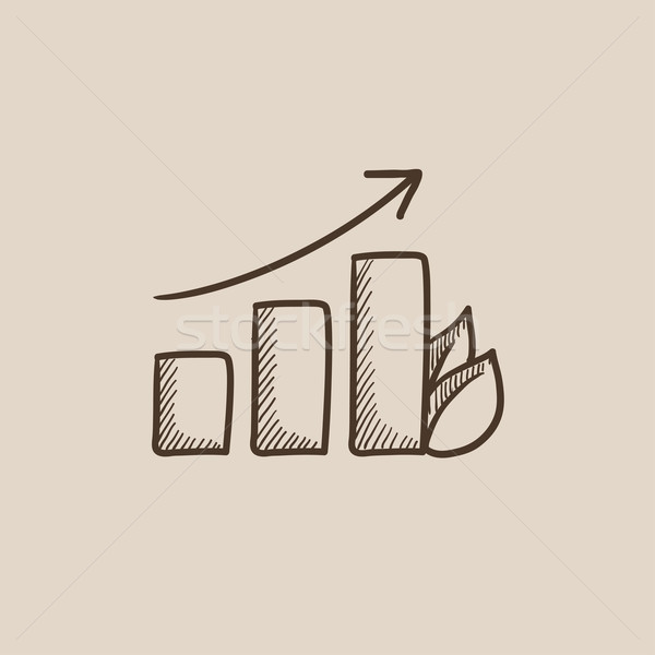 Bar graph with leaf sketch icon. Stock photo © RAStudio