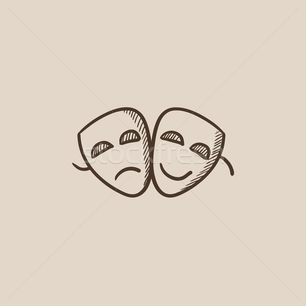 Due teatrale maschere sketch icona web Foto d'archivio © RAStudio