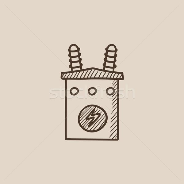Alta tensão transformador esboço ícone teia móvel Foto stock © RAStudio