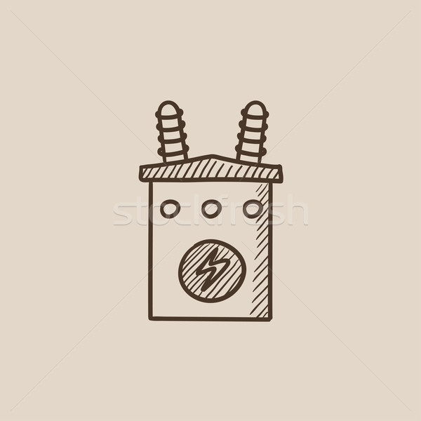 Hoogspanning transformator schets icon web mobiele Stockfoto © RAStudio