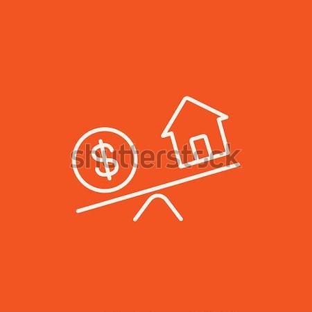 House and dollar symbol on scales line icon. Stock photo © RAStudio