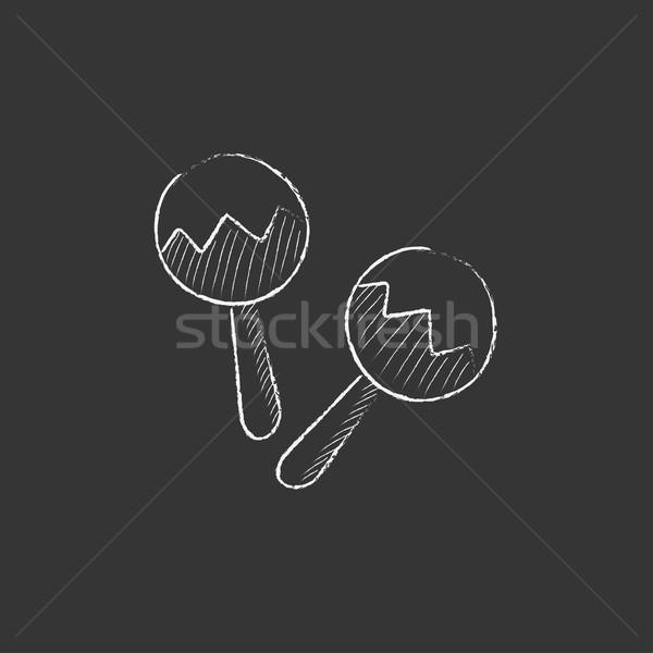 Maracas. Drawn in chalk icon. Stock photo © RAStudio