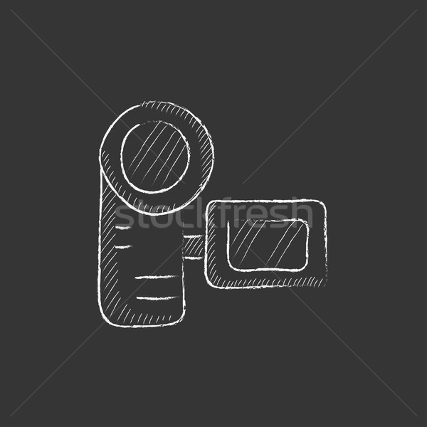 Digital video camera. Drawn in chalk icon. Stock photo © RAStudio