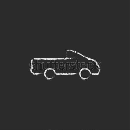 Mentő autó rajzolt kréta ikon kézzel rajzolt Stock fotó © RAStudio