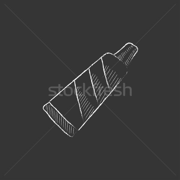 Cső fogkrém rajzolt kréta ikon kézzel rajzolt Stock fotó © RAStudio