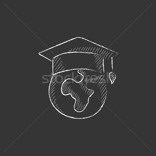 Földgömb érettségi sapka rajzolt kréta ikon Stock fotó © RAStudio