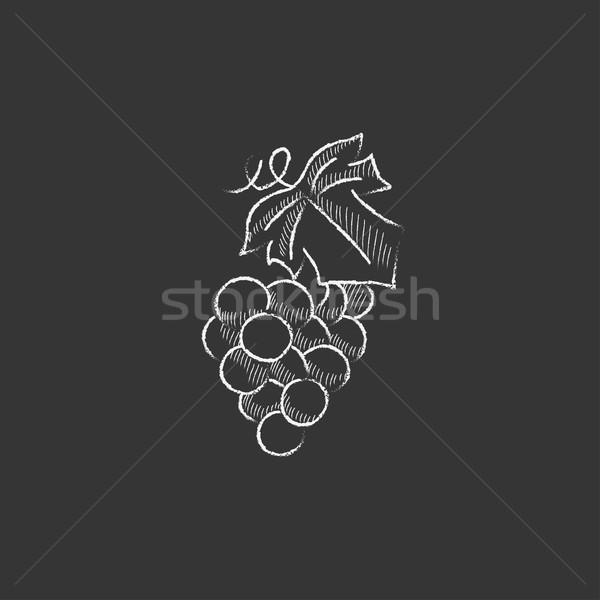 Bunch of grapes. Drawn in chalk icon. Stock photo © RAStudio
