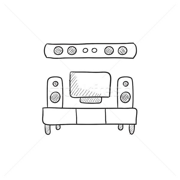Tv düz ekran ev tiyatro kroki ikon Stok fotoğraf © RAStudio