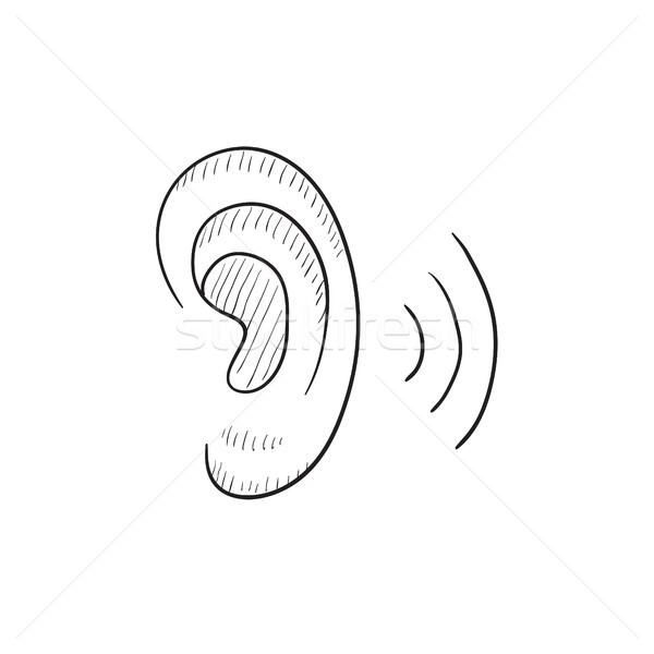 Human ear sketch icon. Stock photo © RAStudio