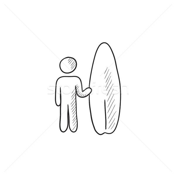 Man with surfboard sketch icon. Stock photo © RAStudio