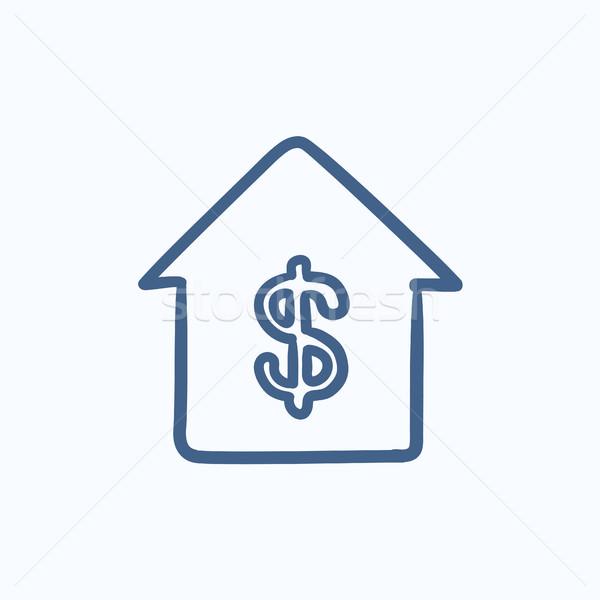 дома доллара символ эскиз икона вектора Сток-фото © RAStudio