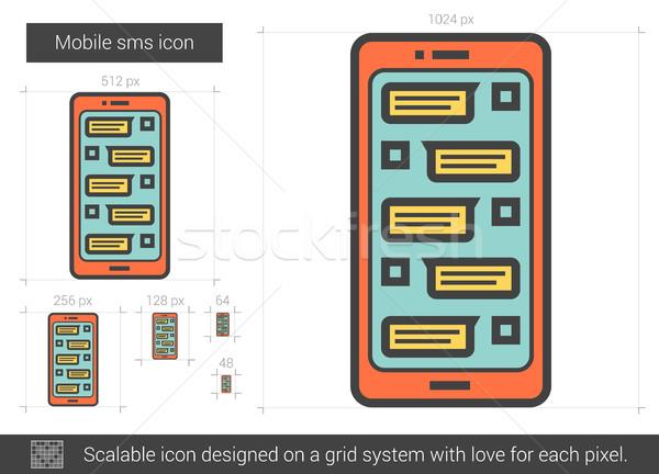 Mobiele sms lijn icon vector geïsoleerd Stockfoto © RAStudio