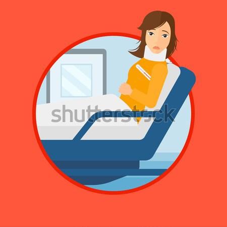 Woman with neck injury vector illustration. Stock photo © RAStudio