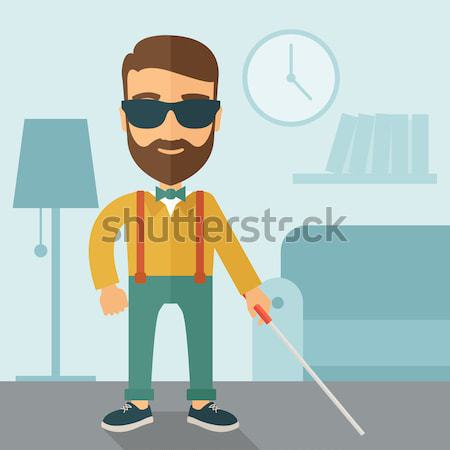 Blind man with walking stick Stock photo © RAStudio