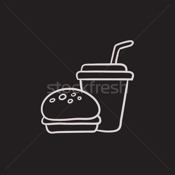 Stockfoto: Fast · food · maaltijd · schets · icon · vector · geïsoleerd