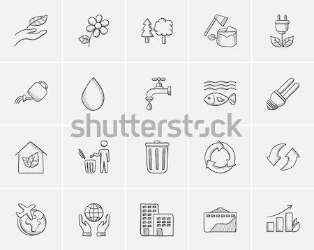 Ecologie schets web mobiele infographics Stockfoto © RAStudio