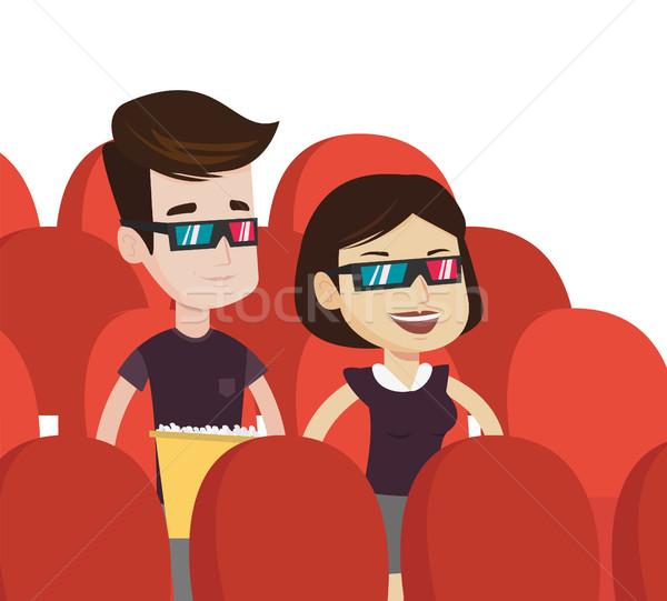 Boldog pár néz 3D film színház Stock fotó © RAStudio