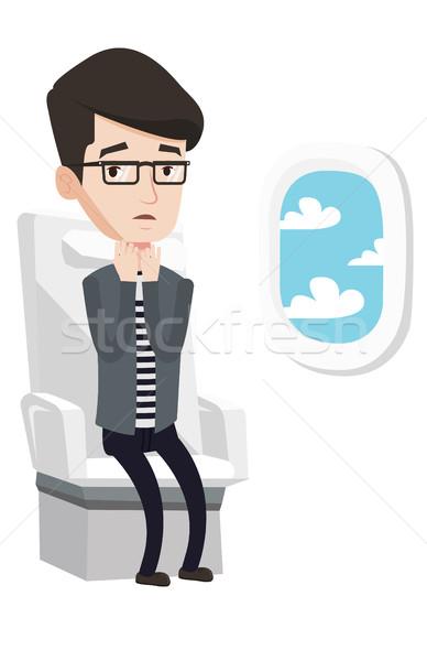 Foto stock: Joven · sufrimiento · miedo · vuelo · hombre · conmocionado
