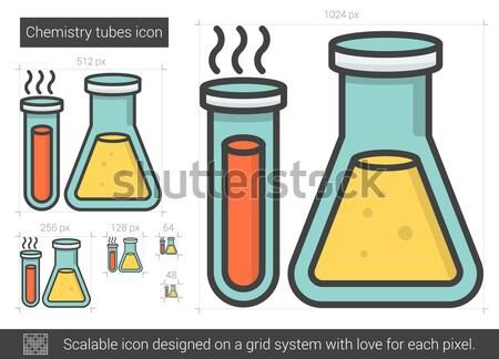 Stockfoto: Chemie · lijn · icon · vector · geïsoleerd