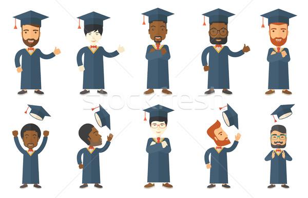Vektor szett diplomás diák betűk derűs Stock fotó © RAStudio
