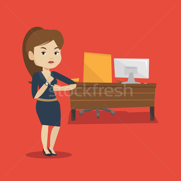 сердиться работодатель указывая женщины время Сток-фото © RAStudio
