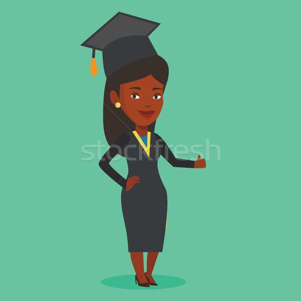 Diplomás hüvelykujj felfelé boldog női köpeny Stock fotó © RAStudio