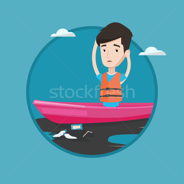 Man floating in a boat in polluted water. Stock photo © RAStudio