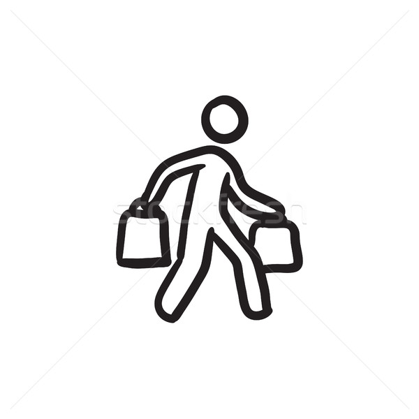 Man carrying shopping bags sketch icon. Stock photo © RAStudio
