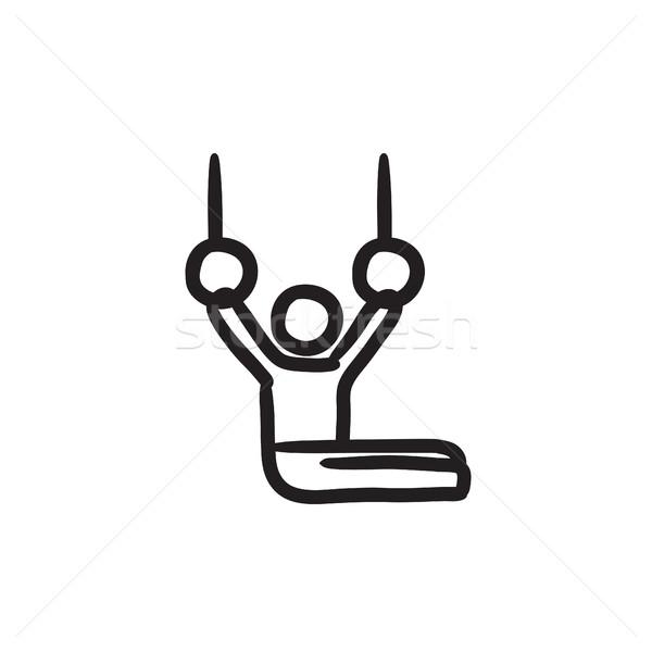 体操選手 リング スケッチ アイコン ストックフォト © RAStudio