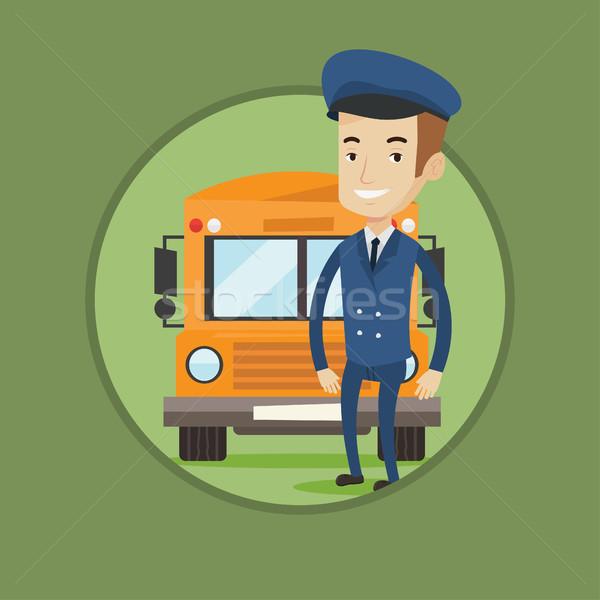 школьный автобус драйвера кавказский счастливым школы Постоянный Сток-фото © RAStudio