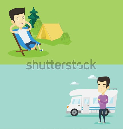 Woman sitting in chair in front of camper van. Stock photo © RAStudio