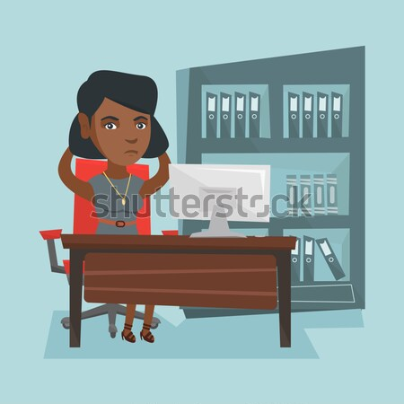 Stressed business woman working in office. Stock photo © RAStudio