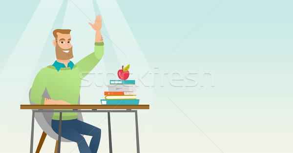 Estudante mão classe responder caucasiano sessão Foto stock © RAStudio