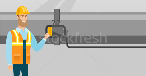 Operator checking detector on gas pipeline. Stock photo © RAStudio